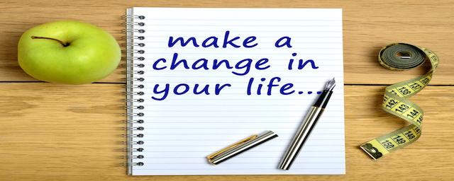 auf einem block steht make a change in your life
